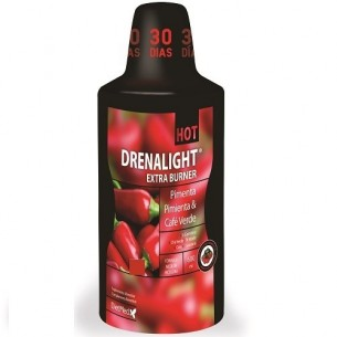 DRENALIGHT EXTRA BURNER HOT, PIMIENTA Y CAFÉ VERDE DIETMED 600 ml.