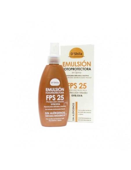EMULSIÓN PROTECTORA EN SPRAY FPS 25 D´SHILA 200 ml.